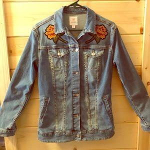 LulaRoe embroidered jean jacket